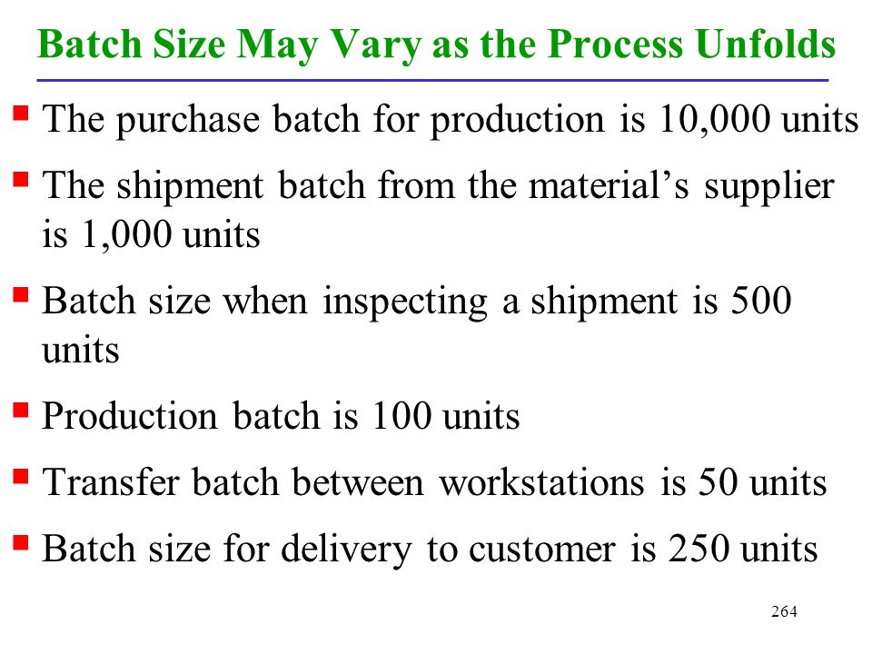 Batch Size May Vary as the Process Unfolds