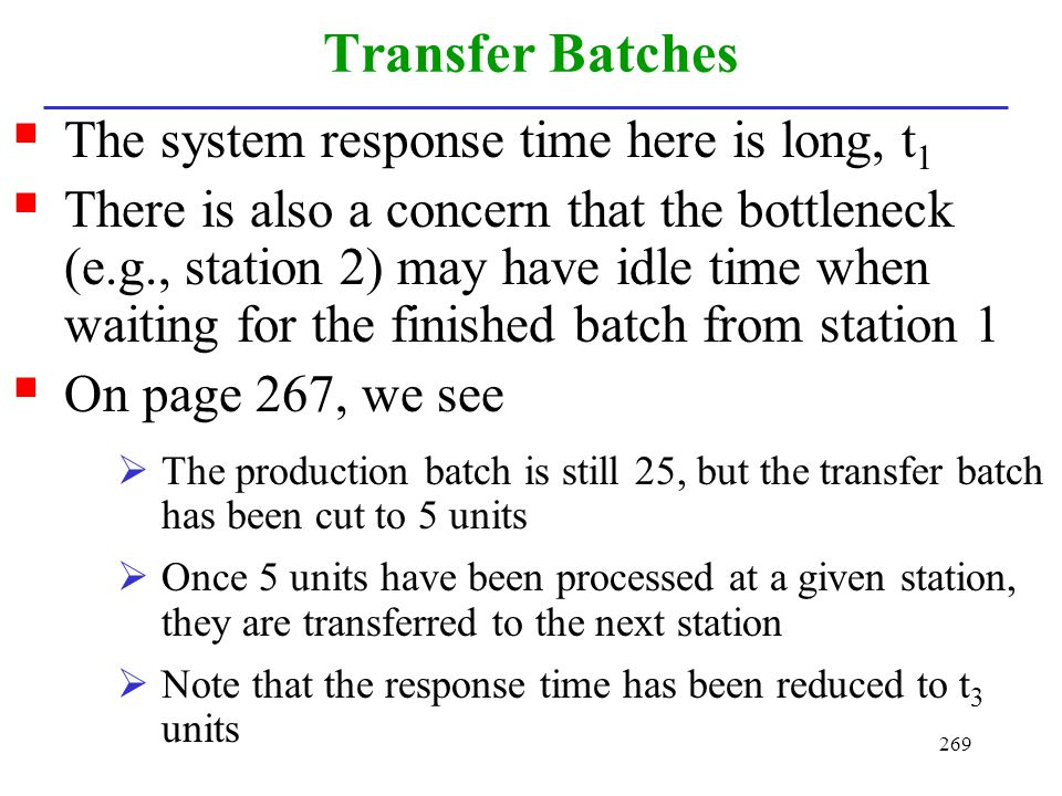 Transfer Batches The system response time here is long, t1