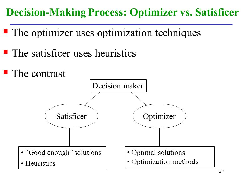 Decision-Making Process: Optimizer vs. Satisficer