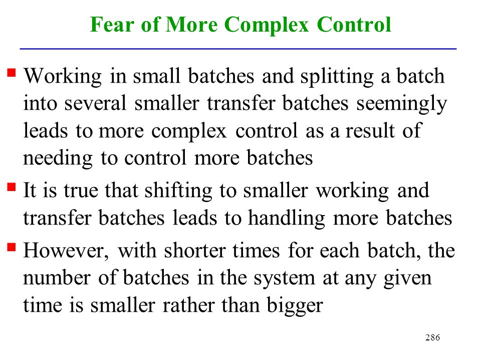 Fear of More Complex Control