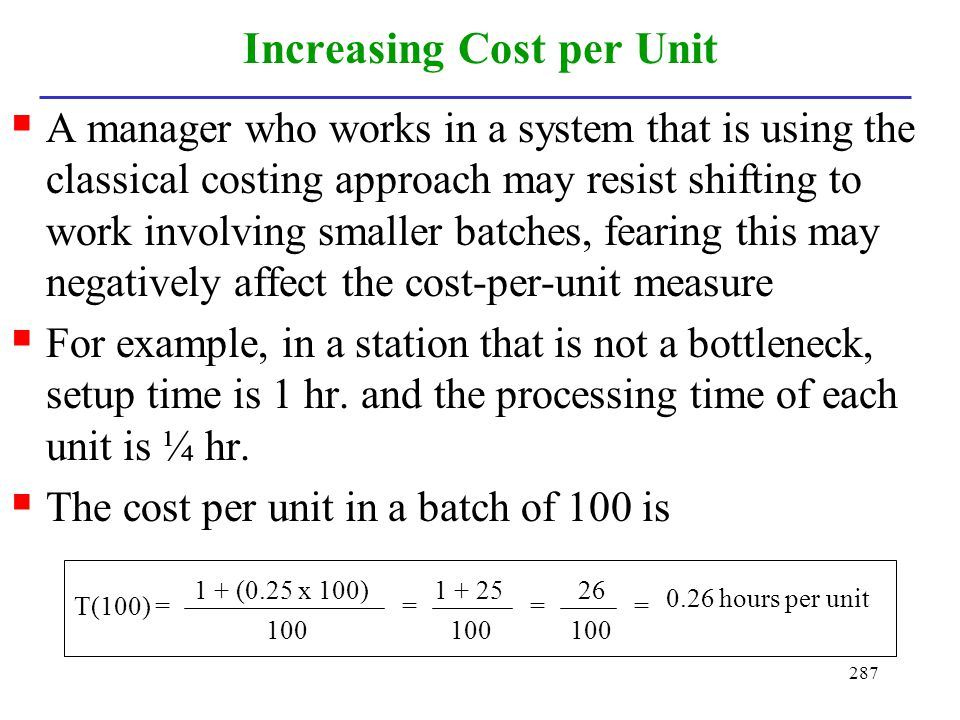 Increasing Cost per Unit