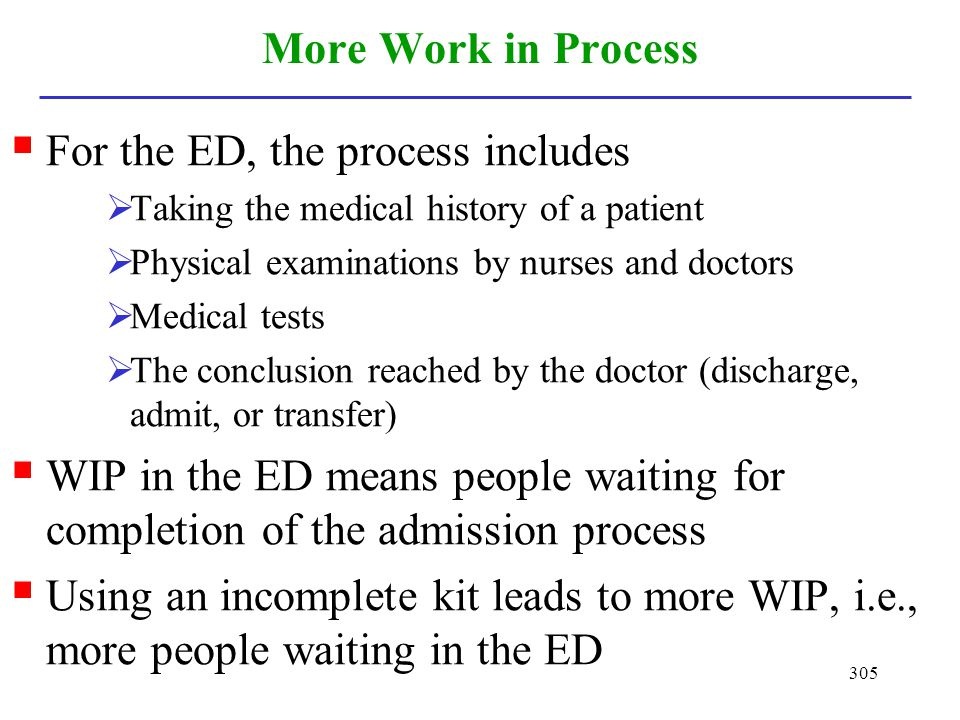 For the ED, the process includes