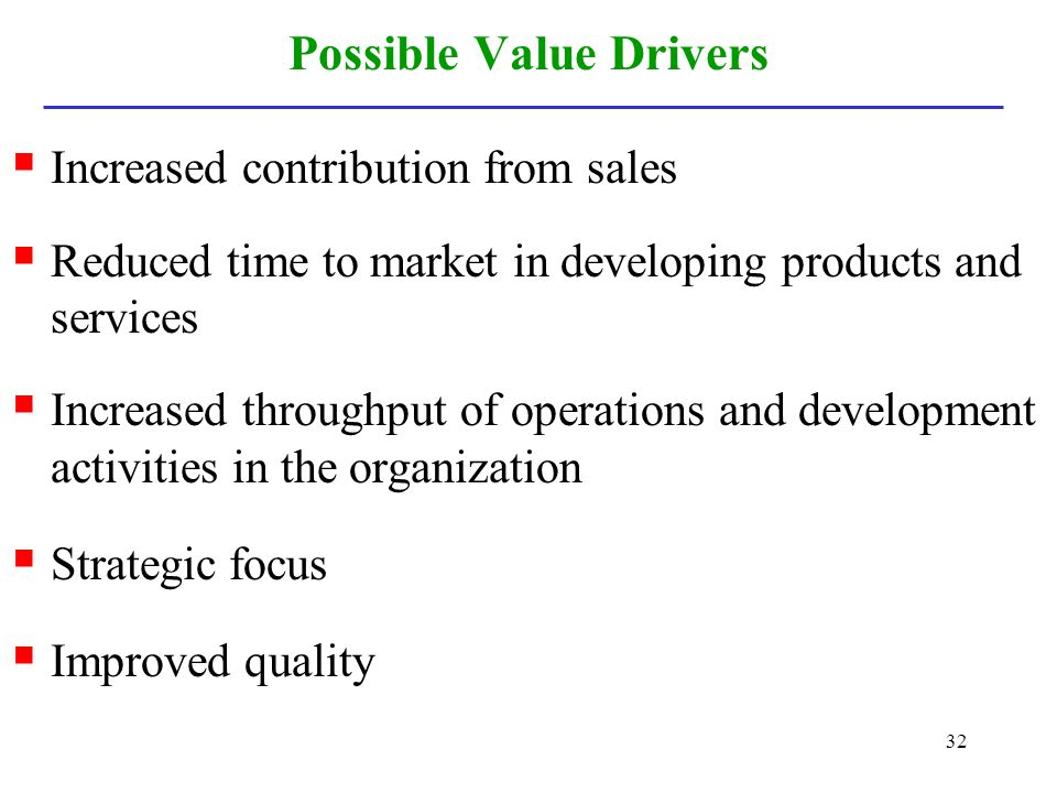 Possible Value Drivers