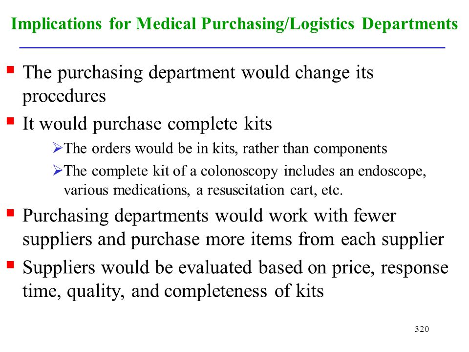 Implications for Medical Purchasing/Logistics Departments