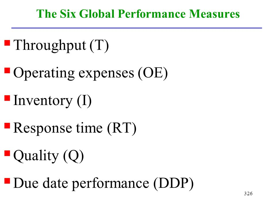 The Six Global Performance Measures
