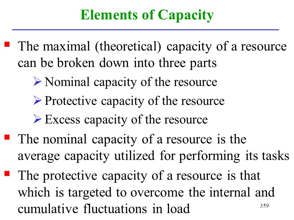 Elements of Capacity The maximal (theoretical) capacity of a resource can be broken down into three parts.