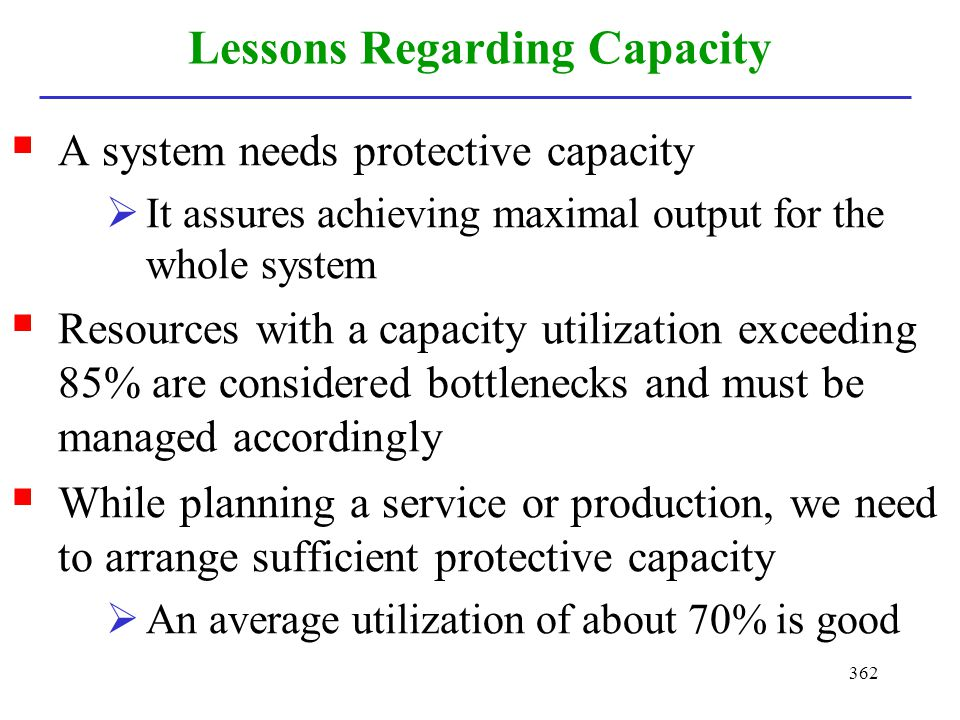 Lessons Regarding Capacity