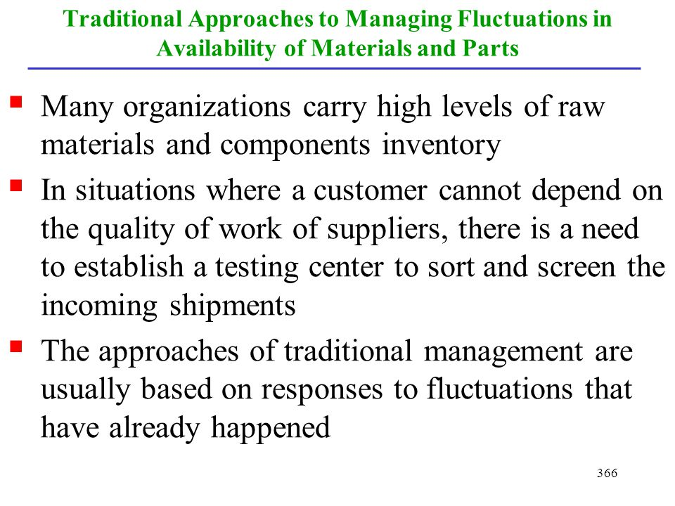 Traditional Approaches to Managing Fluctuations in Availability of Materials and Parts