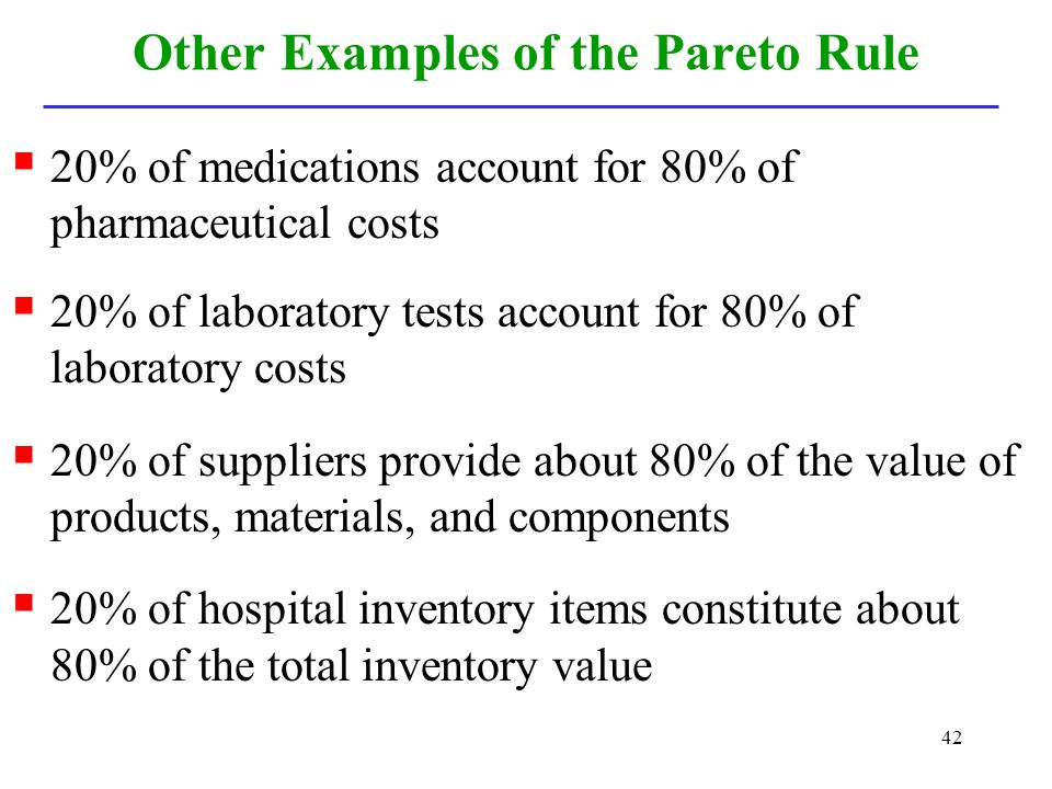 Other Examples of the Pareto Rule