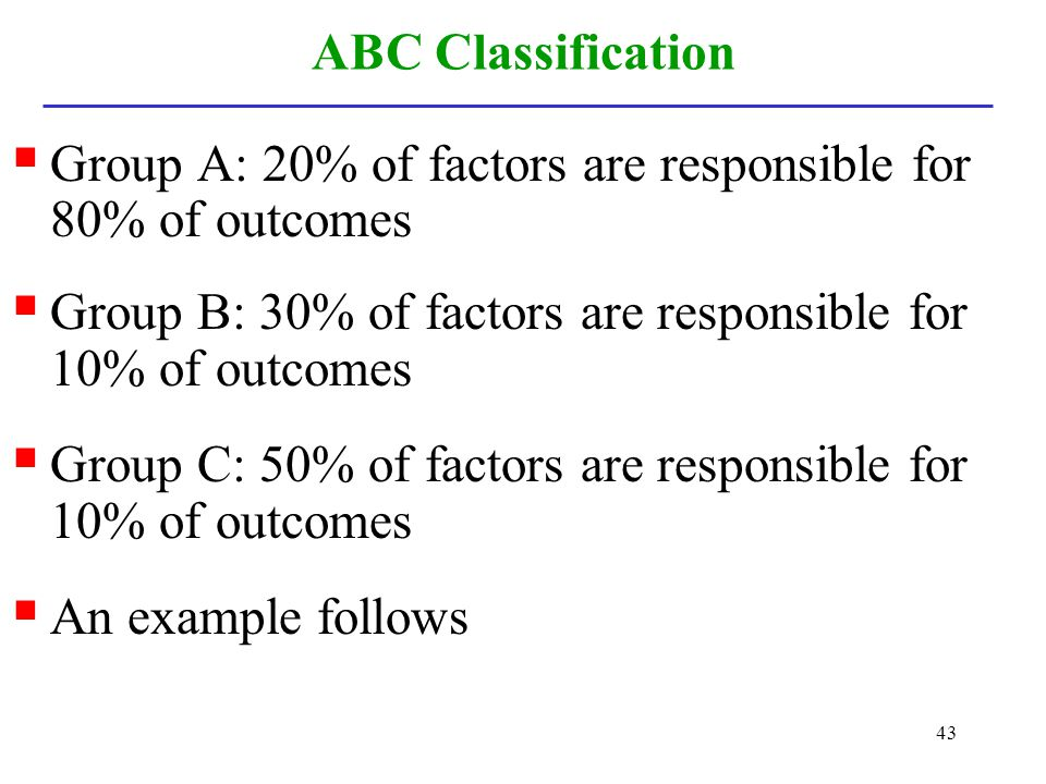 ABC Classification Group A: 20% of factors are responsible for 80% of outcomes. Group B: 30% of factors are responsible for 10% of outcomes.