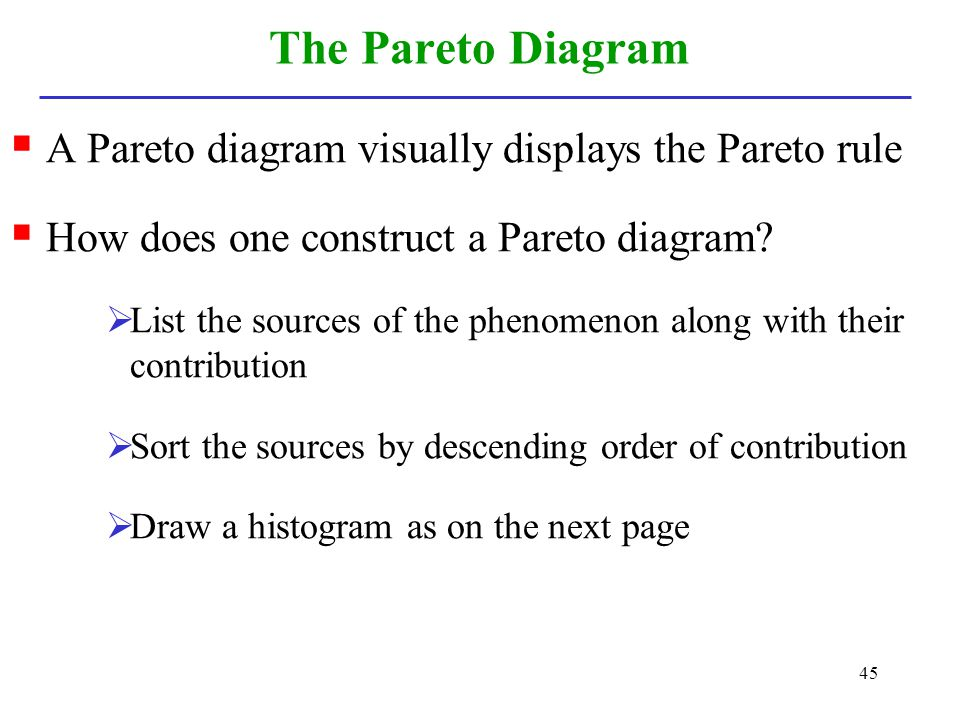 The Pareto Diagram A Pareto diagram visually displays the Pareto rule