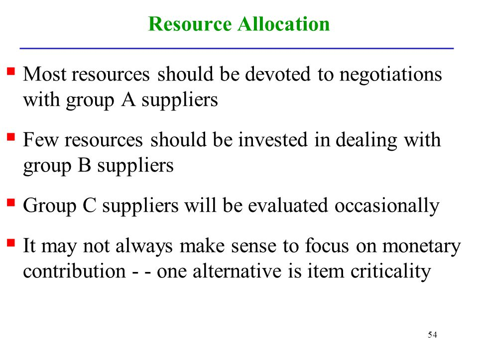 Resource Allocation Most resources should be devoted to negotiations with group A suppliers.