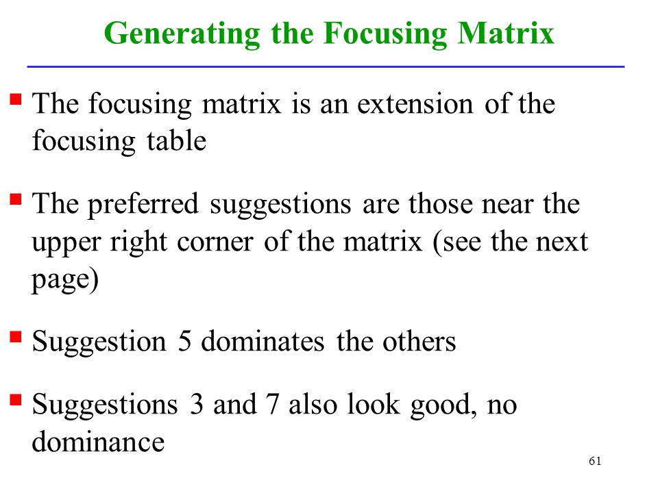 Generating the Focusing Matrix