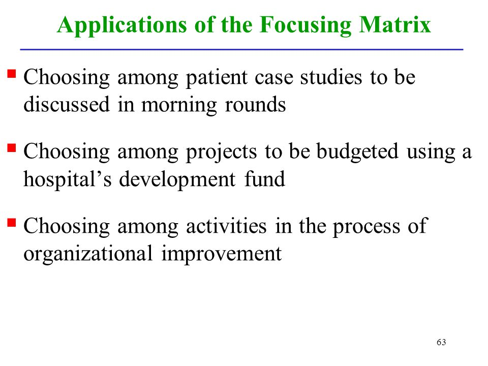 Applications of the Focusing Matrix