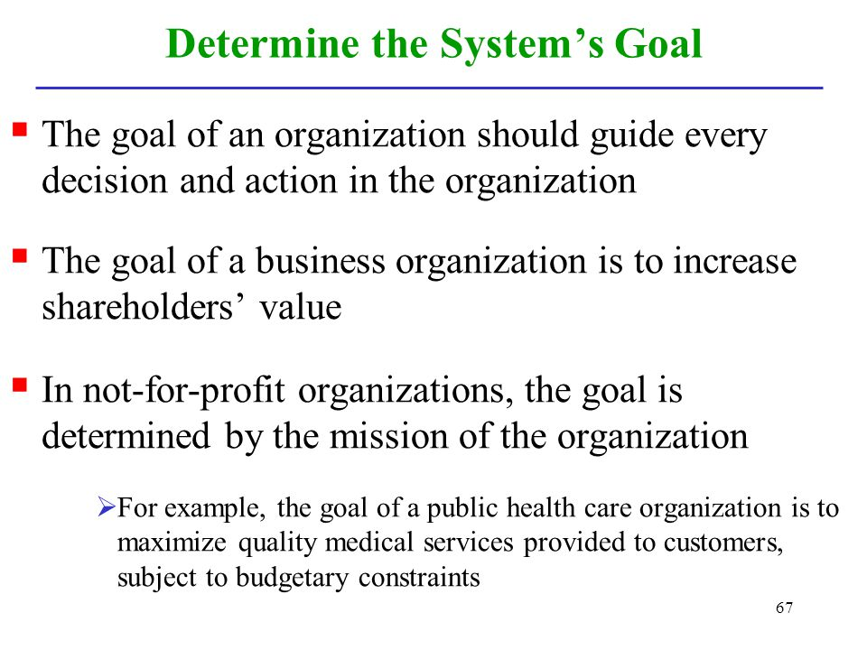 Determine the System's Goal
