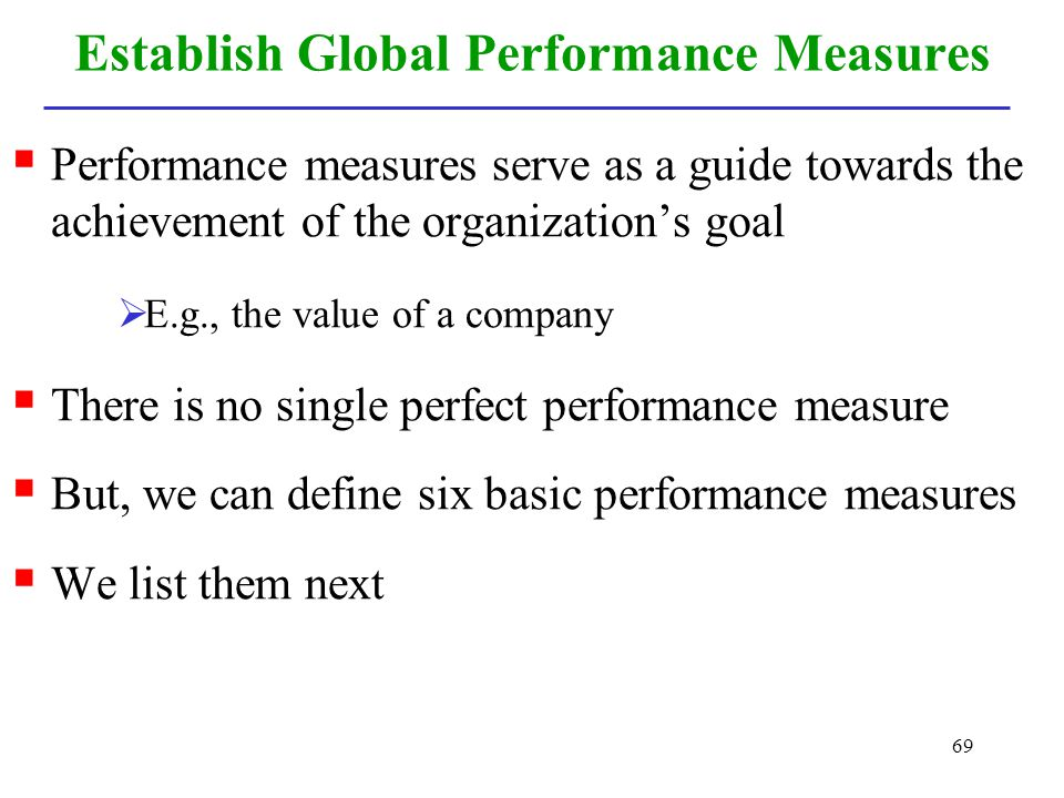 Establish Global Performance Measures