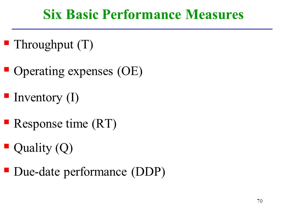 Six Basic Performance Measures