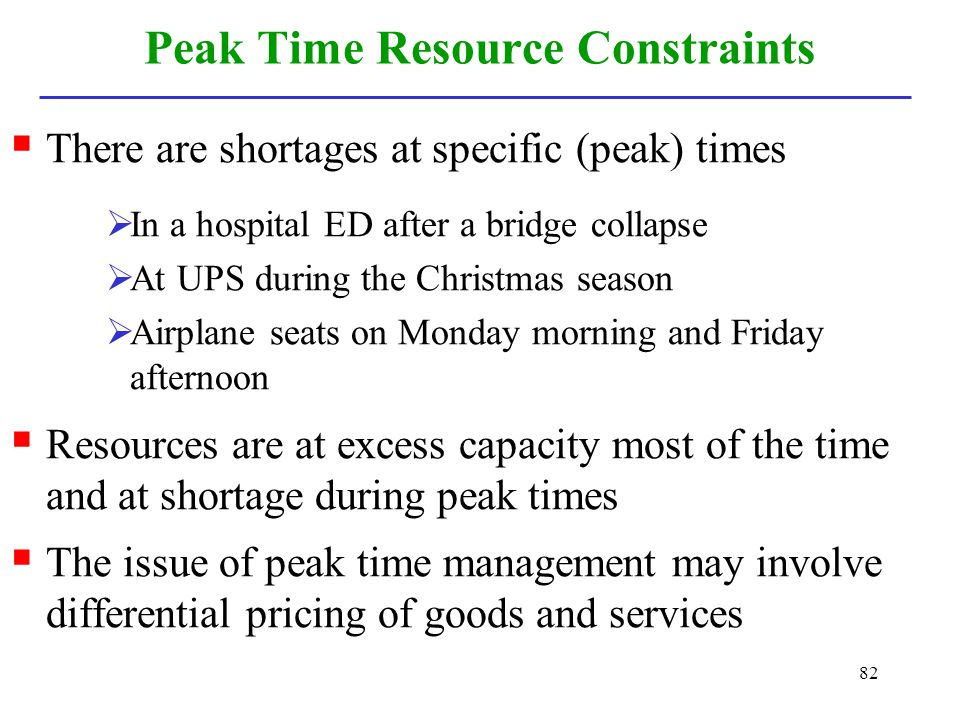 Peak Time Resource Constraints