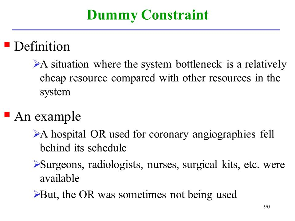 Dummy Constraint Definition An example