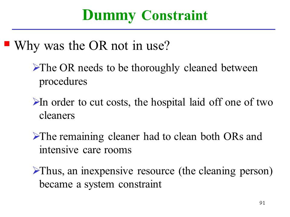 Dummy Constraint Why was the OR not in use