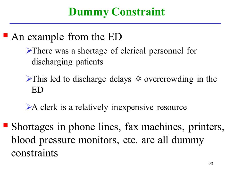 Dummy Constraint An example from the ED