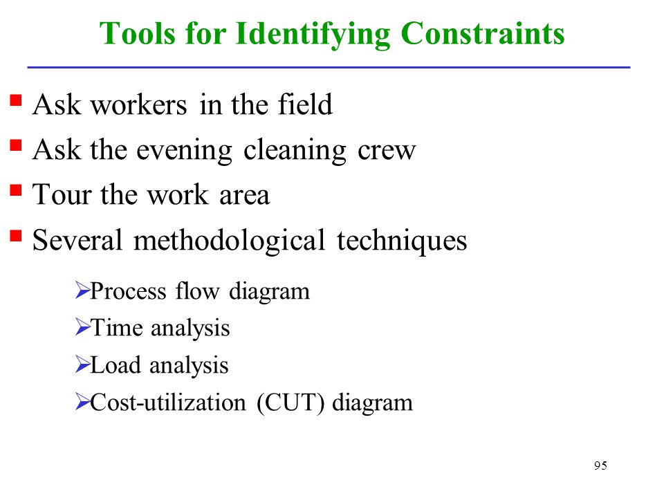 Tools for Identifying Constraints
