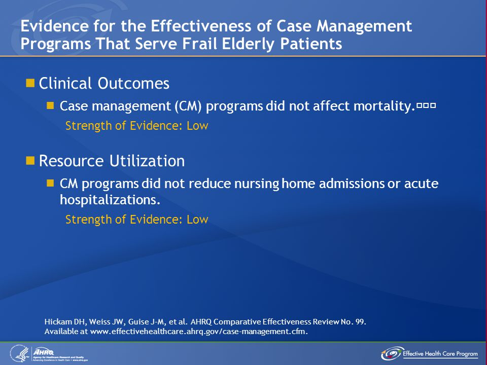 Evidence for the Effectiveness of Case Management Programs That Serve Frail Elderly Patients