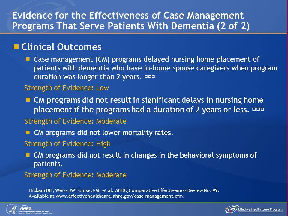 Evidence for the Effectiveness of Case Management Programs That Serve Patients With Dementia (2 of 2)