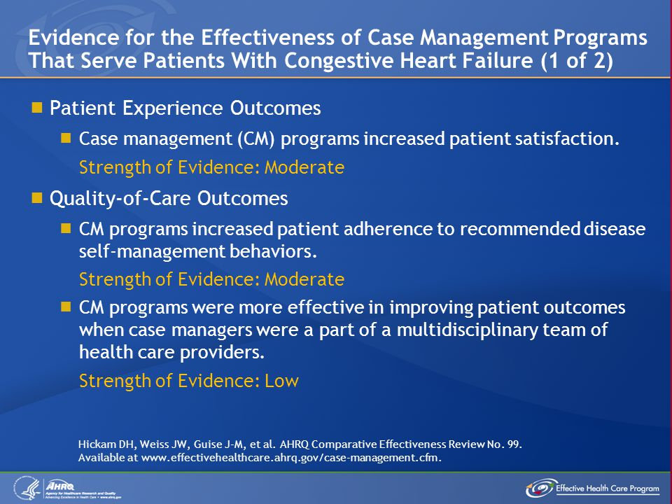 Evidence for the Effectiveness of Case Management Programs That Serve Patients With Congestive Heart Failure (1 of 2)