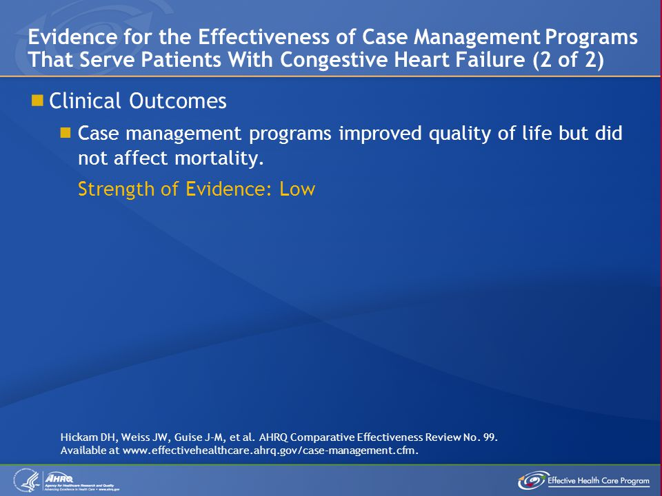 Evidence for the Effectiveness of Case Management Programs That Serve Patients With Congestive Heart Failure (2 of 2)