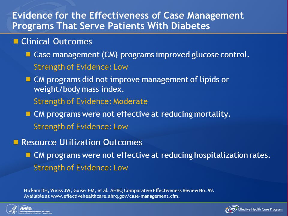 Evidence for the Effectiveness of Case Management Programs That Serve Patients With Diabetes