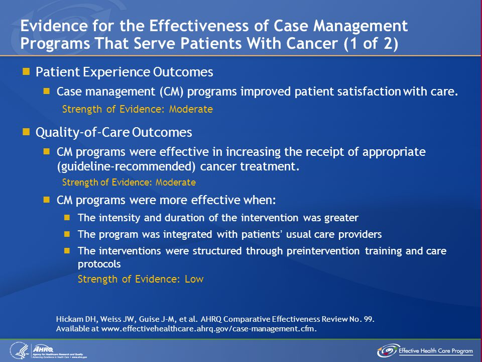 Evidence for the Effectiveness of Case Management Programs That Serve Patients With Cancer (1 of 2)