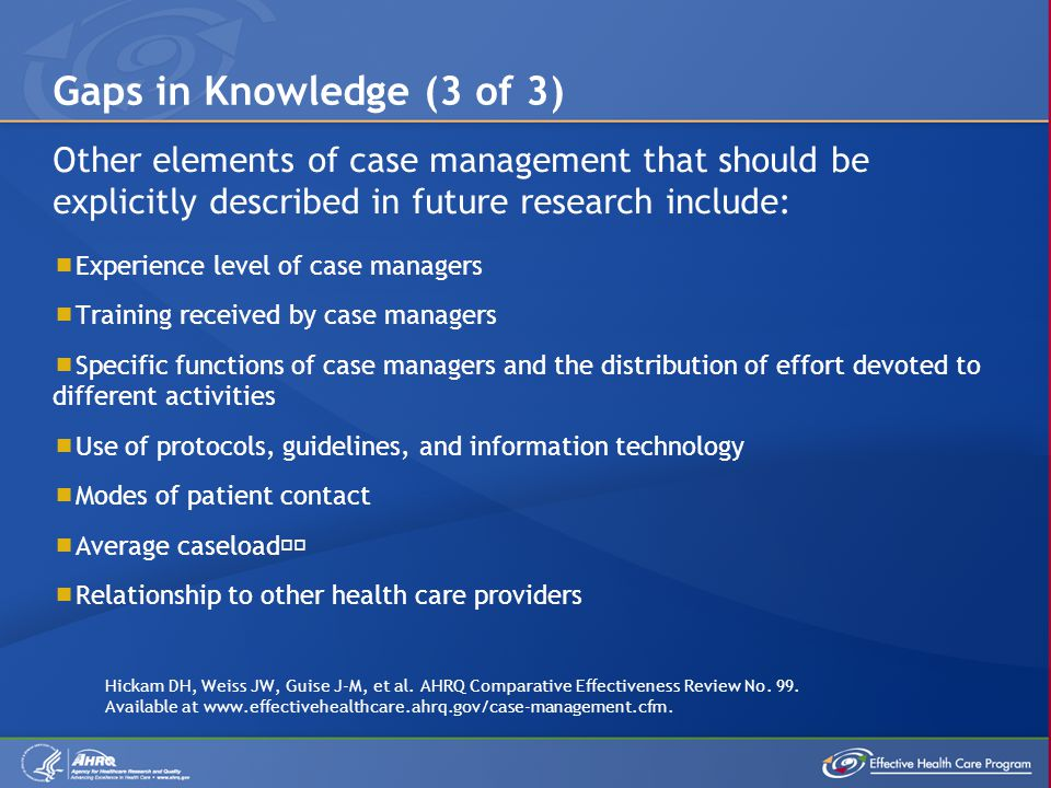 Gaps in Knowledge (3 of 3) Other elements of case management that should be explicitly described in future research include: