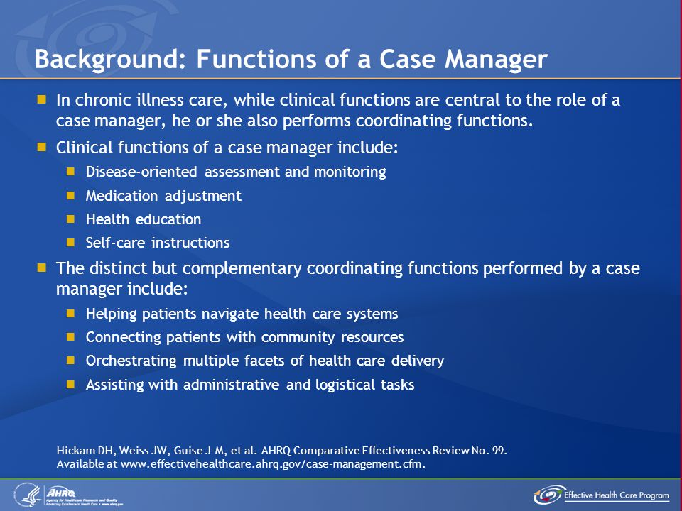 Background: Functions of a Case Manager