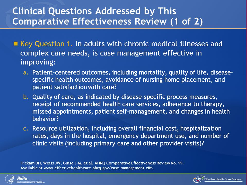 Clinical Questions Addressed by This Comparative Effectiveness Review (1 of 2)
