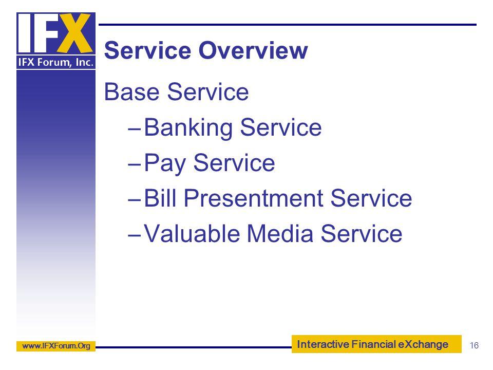 Service Overview Base Service. Banking Service. Pay Service.
