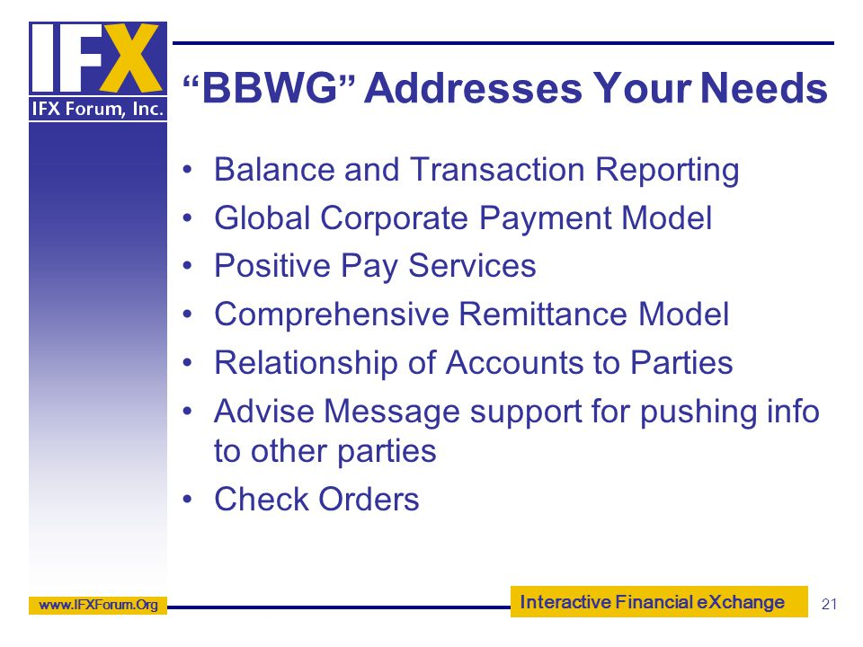 BBWG Addresses Your Needs