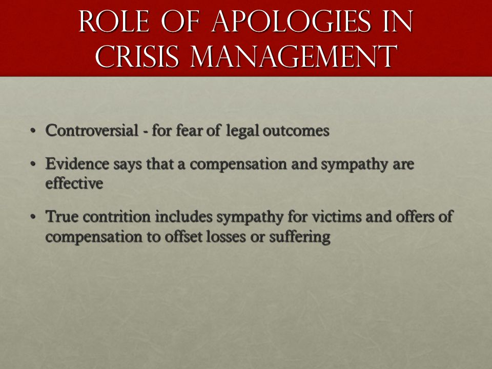 Role of apologies in crisis management