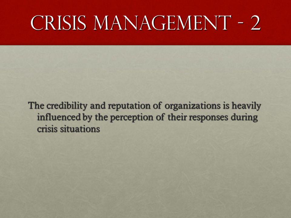 Crisis Management - 2