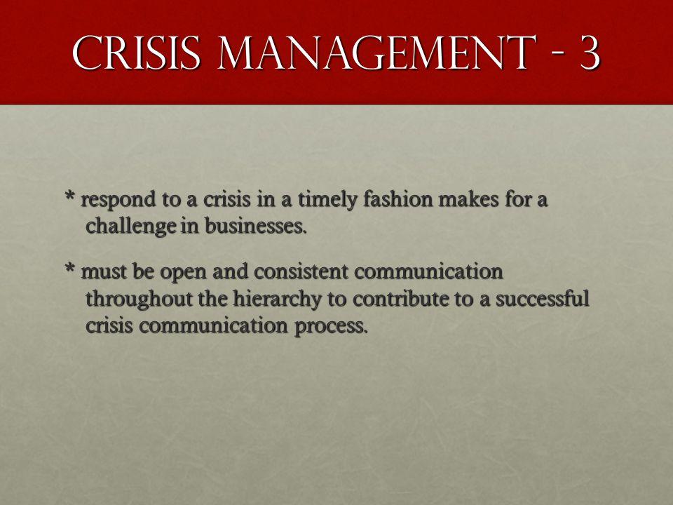 Crisis Management - 3