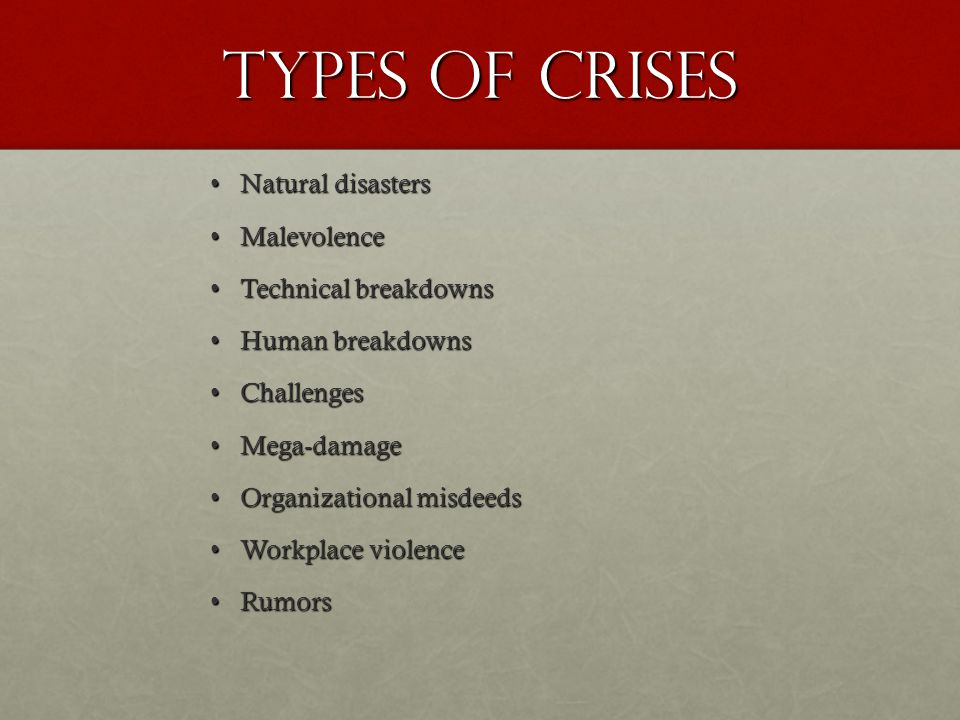 Types of Crises Natural disasters Malevolence Technical breakdowns