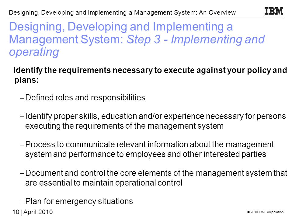 Designing, Developing and Implementing a Management System: Step 3 - Implementing and operating