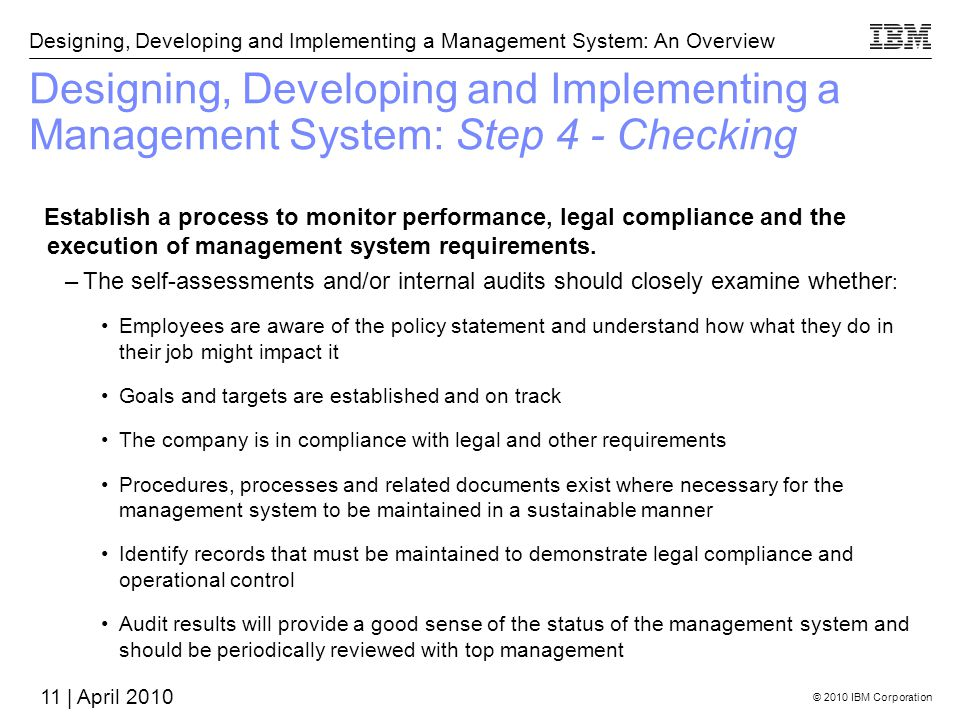 Designing, Developing and Implementing a Management System: Step 4 - Checking