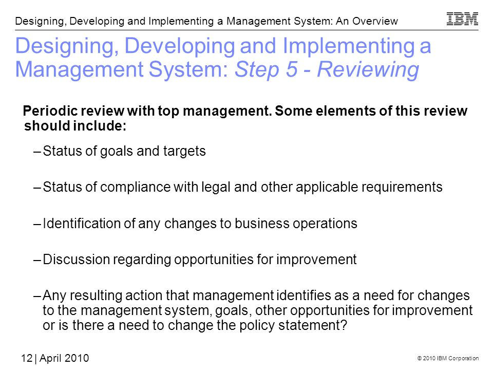 Designing, Developing and Implementing a Management System: Step 5 - Reviewing