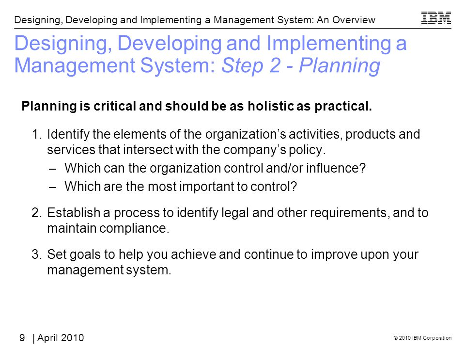 Designing, Developing and Implementing a Management System: Step 2 - Planning