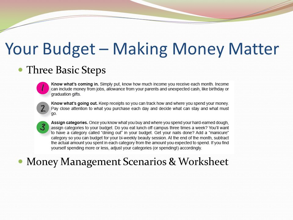Your Budget – Making Money Matter