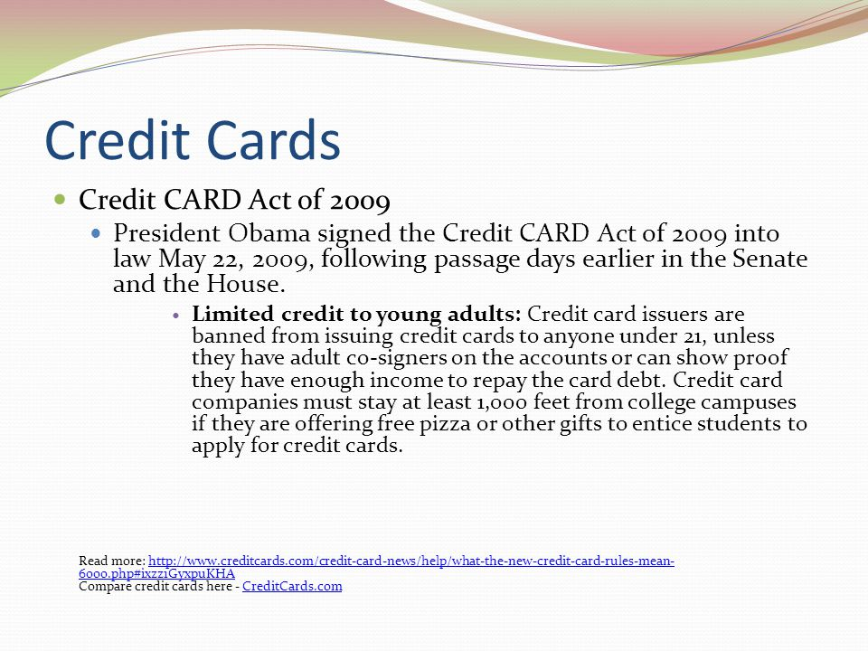 Credit Cards Credit CARD Act of 2009