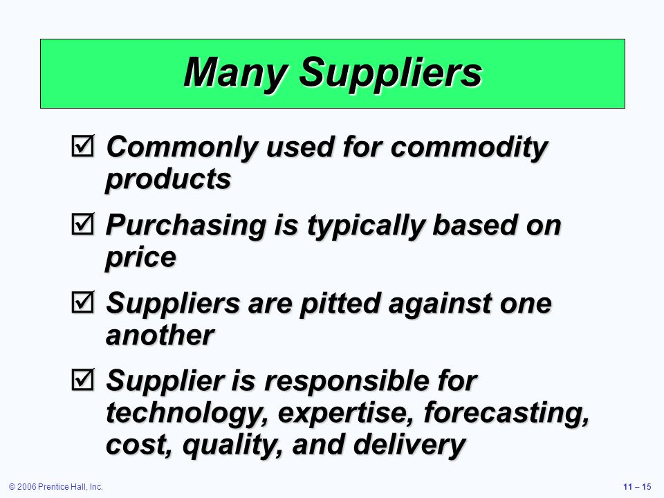 Many Suppliers Commonly used for commodity products