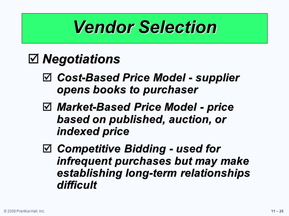 Vendor Selection Negotiations