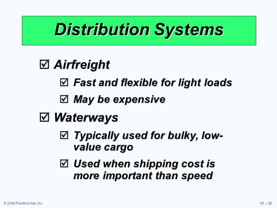 Distribution Systems Airfreight Waterways